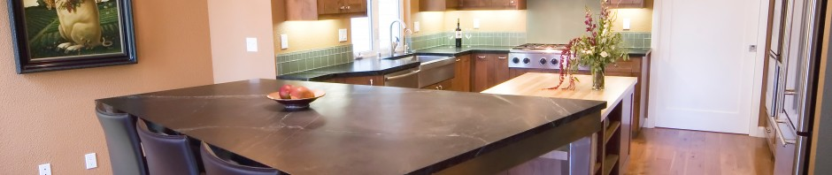 Kitchen remodel by WrightBuilt with soapstone table and counters